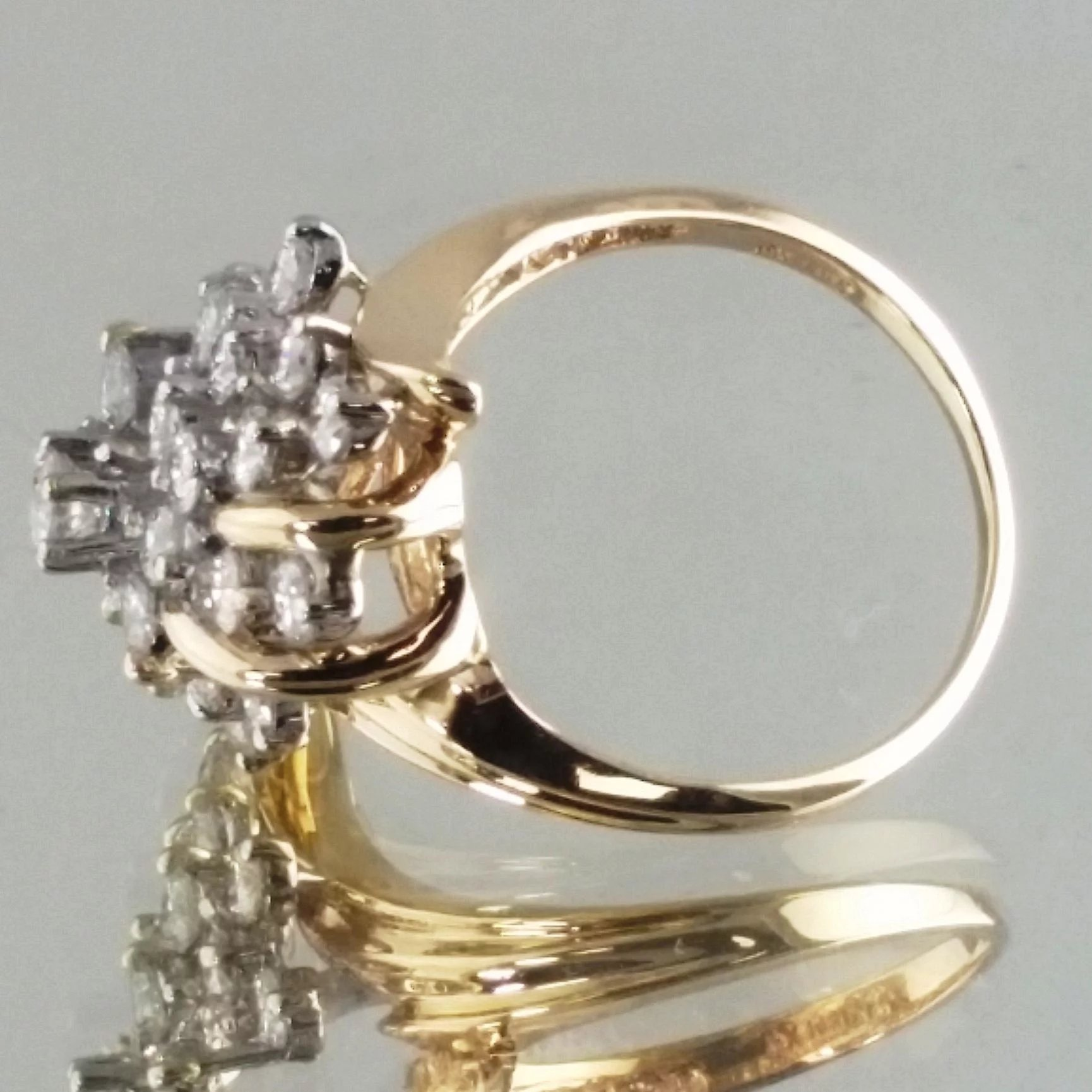 Diamond cluster ring 14k yellow gold vintage ring for Waterfall design ring