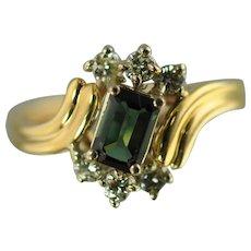 Green Tourmaline and Diamond Vintage Fashion Ring / 14k Yellow Gold