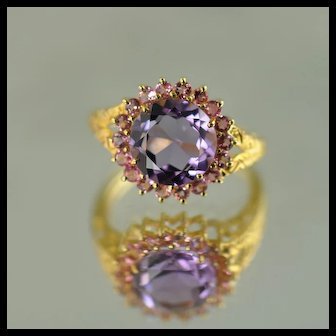 Ladies Amethyst and Pink Tourmaline Ring / 14k Yellow Gold