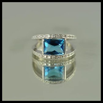 Blue Topaz and Diamond Ring / 14k White Gold