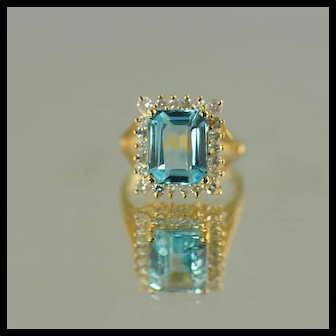 Ladies Blue Topaz and Diamond Ring / 14k Yellow Gold