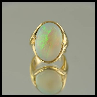 Free Form Australian Opal Ring / 14k Yellow GOld