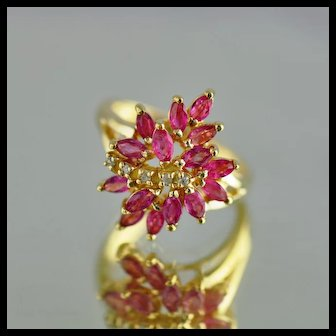 Pink Sapphire and Diamond Fashion Ring / 10k Yellow Gold