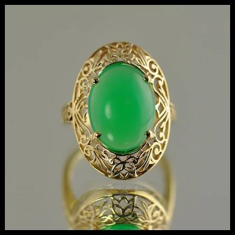 Chrysoprase Filigree Ring / 14k Yellow Gold