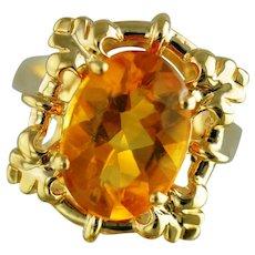 Citrine Fashion Ring / 14k Yellow Gold