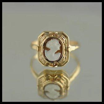 Cameo / Hidden Mesonic Hinge Ring / 14k Yellow Gold