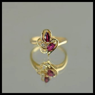 Ruby and Diamond Fashion Ring / 14k Yellow Gold
