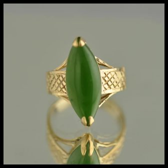 Marquise Jade Ring / 14k Yellow Gold