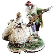Dresden Lace Figurine Courting Couple