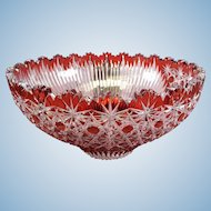 Czech cut crystal bowl with two designs red and clear