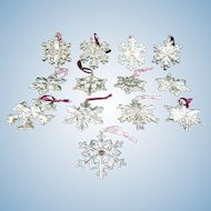Sterling Silver Snowflake Ornaments by Gorham Collector's Lot of 13