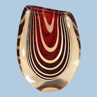 Studio Art Glass Vase by Kosta Zebra Stripe Ruby and Clear