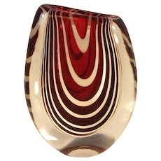Studio Art Glass Vase by Kosta Zebra Stripe Ruby and Clear