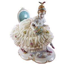 Dresden Lace Figurine Lady with Cat