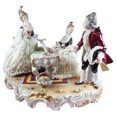 "Dresden Lace Large Figurine ""Le Solo"" mint Condition"