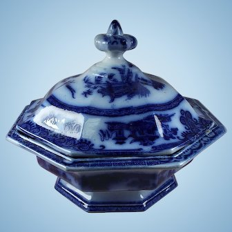 Antique Flow Blue Covered Dish by J. Clementson