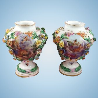 Antique Meissen set/2 Vases Floral, Fruit, Insects Circa:  1880's