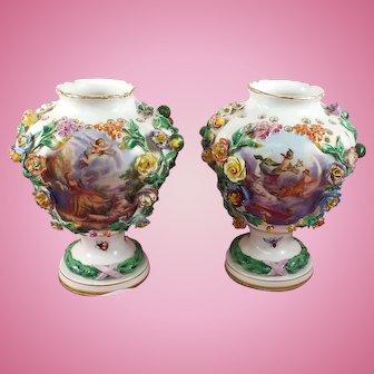 Antique Meissen set/2 Vases Floral, Fruit, Insects Circa:  1880's