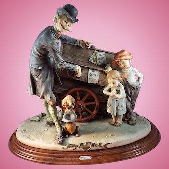 G. Armani Florence Figurine Organ Grinder with Children Florence.  Artist Signed.
