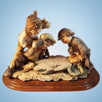 G. Armani Large Figurine Children Playing Dice,  Gulliver's World, Italy