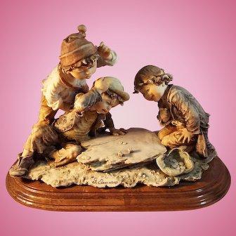 G. Armani Large Figurine Children Playing Dice,  Gulliver's World, Italy
