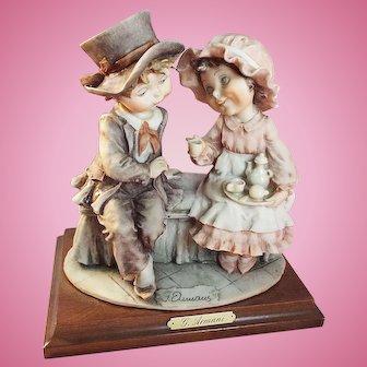 """G. Armani Florence Figurine """"Having Tea""""  1992, Artist signed."""