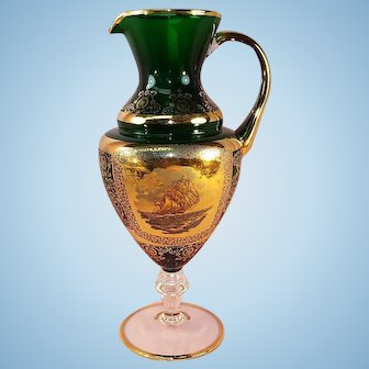 Antique Emerald Green and 22kt gold Pitcher.  Etched Sailing Ship theme.
