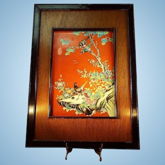 Oil Painting on Porcelain Tile Wood Framed Bird Theme