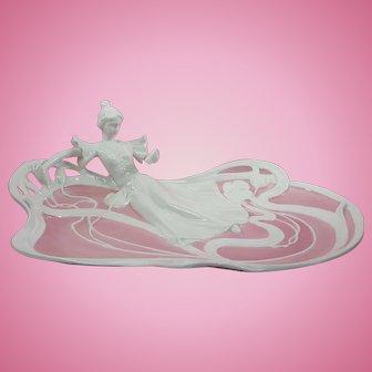 Figural Dresser Tray Dish Buckingham pink white Mint