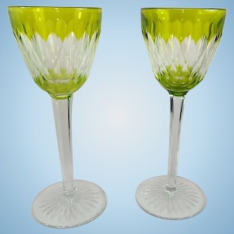 Baccarat set of Two Mint Green and Clear Crystal Stems Mint Signed