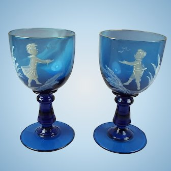 Mary Gregory set of two mini hock wine glasses.  Adorable.  Mint.  Cobalt.