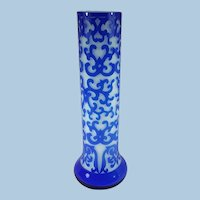 Chinese Peking Vase Blue over White.  Beautifully carved collector's item.