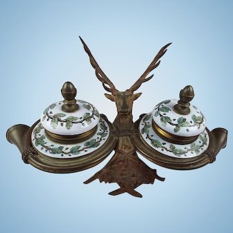 Antique Deer double ink well.  Brass and Porcelain, Circa:  1890's