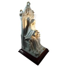 Jesus Christ Figural Statue on Throne Italian Porcelain 22KT Gold
