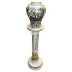 Capodimonte Jardiniere and Pedestal made in Italy