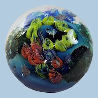 Josh Simpson Inhabited Planet Paperweight Signed
