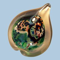 Studio Art Glass Paperweight Heart Shaped