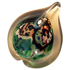 Studio Art Glass Paperweight Heart Shaped