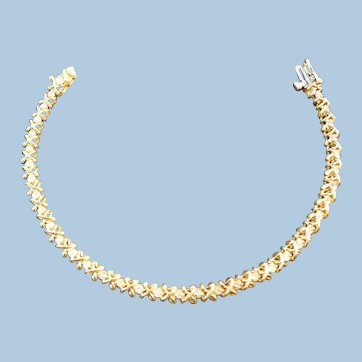 Diamond Tennis Bracelet 14kt Gold 7 1/2 Inch