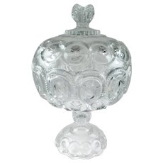 Large Moon and Stars Centerpiece Lidded Compote, Adams Glass, EAPG, 1880's