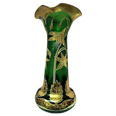 Moser Emerald Green Vase 22kt Gold