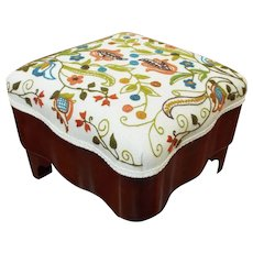 Antique Mahogany Foot Stool with Crewel Sewn Top.