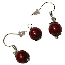 Red Glass Pearls 925 Sterling Silver Earrings