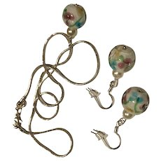 Floral Glass Porcelain Champagne Glass Pearls Jewelry Set