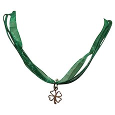 St. Patrick's Day Shamrock Four Leaf Clover Charm on Green Ribbon Cord Necklace