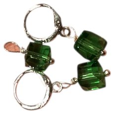 St. Patrick's Day Green Square Glass Crystal Earrings and Pendant