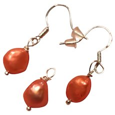 Pantone Color of the Year!! Coral!!! Cultured Freshwater Pearl Pendant and Earrings