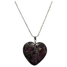 Large Purple Heart Shape Purple Sea Sediment Jasper and Pyrite Gemstone Necklace