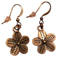 Antiqued Copper Flower Earrings