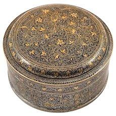 Indian Muradabad Jewelry Box, White Metal Inlaid with Niello